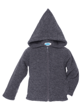 Organic Wool Fleece Hooded Jacket Color: Slate Grey
