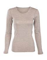 Women's Long Sleeve Underwear Shirt, Organic Wool Cotton