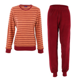 Women's Terry Pajamas Color: cherry striped