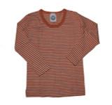 Organic Wool/Silk Long Sleeved Kids Shirt Color: Saffron Orange Stripes
