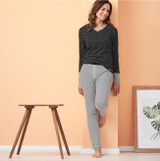 Organic Cotton Sleep Trousers Color: 752 offwhite/stripes