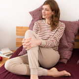 Organic Cotton Women Pajamas Color: 562 alpaca/cranberry
