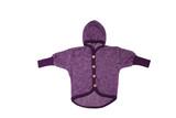 Organic Wool Fleece Cotton Baby Hooded Jacket Color: 113 purple melange