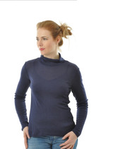 Women Silk Wool Turtleneck Shirt