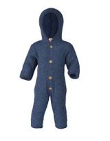 Organic Soft Wool Fleece Hooded Baby Bunting Color: 080 Blue Melange