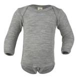 Merino Wool/ Silk Long Sleeved Bodysuit Color: 091 light grey melange