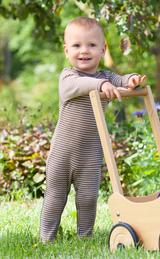 Organic Wool/ Silk Footed Pajamas Color: Walnut / Natural