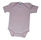 Organic Wool/ Silk/ Cotton Short Sleeved Bodysuit Color: pink