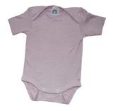 Organic Wool/ Silk/ Cotton Short Sleeved Bodysuit Color: pink