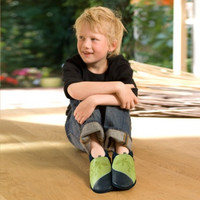 """Handmade Natural Leather Soft-Soled Indoor Slippers - """"Gecko"""""""