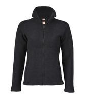 Organic Thick Wool Fleece Women's Jacket Color: 090 black melange