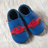 """Handmade Natural Leather Soft-Soled Indoor Slippers - """"Racer"""""""