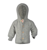 Soft Organic Wool Fleece Hooded Jacket for Babies Color: Grey Melange