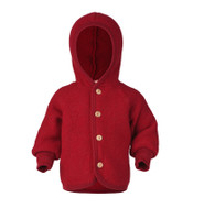 Soft Organic Wool Fleece Hooded Jacket for Babies Color: Red Melange