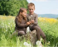 Children's Long Sleeved Shirt | Engel Organic Wool/ Silk Walnut Natural Stripes (right)