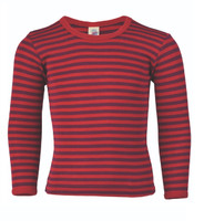 Children's Long Sleeved Shirt | Engel Organic Wool/ Silk Color: Cherry-red / Orchid