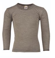 Children's Long Sleeved Shirt | Engel Organic Wool/ Silk Color: Walnut Natural Stripes