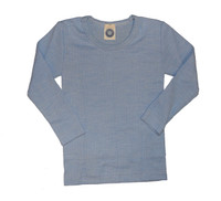 Organic Wool/ Silk/ Cotton Long Sleeved Shirt for Kids Color: Blue