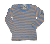 Organic Wool/ Silk/ Cotton Long Sleeved Shirt for Kids Color: Blue/ Apricot/ Natural Stripes