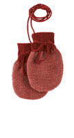 Wool Knitted Melange Baby Mittens. Color: Bordeaux Rose