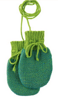 Wool Knitted Melange Baby Mittens. Color: Green Blue