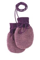 Wool Knitted Melange Baby Mittens. Color: Plum Rose