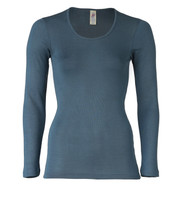 Engel Organic Wool/Silk Women's Long Sleeved Shirt  Color: atlantik