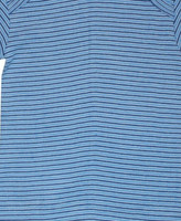 Organic Cotton Long Sleeved Shirt for Children Color: Light Blue/ Natural/ Navy Stripes