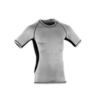 Organic Wool/ Silk Men's Short Sleeved Top Color: Siver Stone / Black