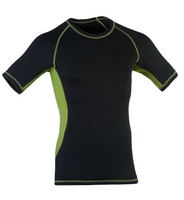 Organic Wool/ Silk Men's Short Sleeved Top Color: Black / Lime