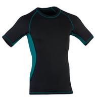 Organic Wool/ Silk Men's Short Sleeved Top Color: black/ hydro