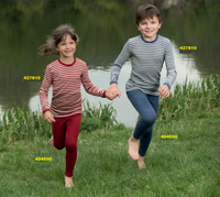 Engel Organic Wool Long Sleeved Shirt for Children Red Melange Natural and Blue Melange Natural