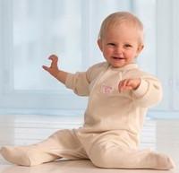 Ruskovilla Organic Merino Wool Footed Baby Pajamas with Zipper
