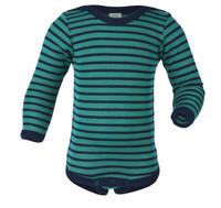 Organic Wool/ Silk Baby Bodysuit Color: 3533E ice-blue / navy-blue