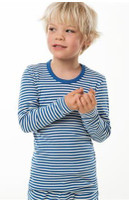 Organic Cotton Long Sleeved Shirt for Children Color: Blue/ natural stripes