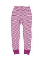 Organic Cotton Kid's Long Underwear Pants Color: Purple/ Natural stripes