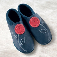 "Handmade Natural Leather Soft Soled Indoor Slippers _ ""Jasmin"""
