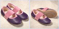 Natural Leather Children's Ballerina Shoes Color: Aubergine