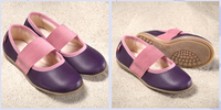 Natural Leather Children's Ballerina Shoes Color: Aubergine