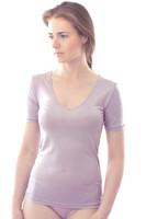 Organic Silk Short Sleeved V-neck Shirt for Women