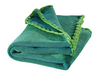 Organic Wool Melange Knitted Baby Blanket. Color: Green Blue