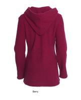 Wool Fleece Hooded Coat Color: Berry