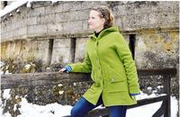"""Organic Wool Fleece Hooded Coat for Women   """"Mona"""""""