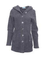 Wool Fleece Hooded Coat Color: Slate Grey