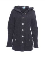 Wool Fleece Hooded Coat Color: Anthracite