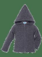 Organic Wool Fleece Hooded Jacket Color: Slate Grey