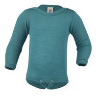 Baby Bodysuit, Organic Merino Wool/Silk Color: Ice-blue