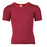 Children's Short Sleeve Shirt, Organic Wool/ Silk Color: Cherry-red / Orchid