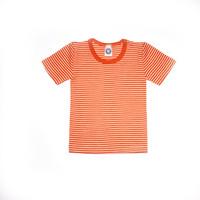 Organic Wool/ Silk Childrens Short Sleeve Shirt Color:  Saffron Orange Striped