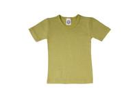 Organic Wool/ Silk Childrens Short Sleeve Shirt Color:  Green